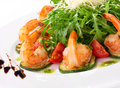 Arugula dish with shrimp Stock Images