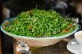 Arugula salad fresh and mustard sauce Stock Images