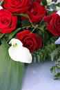 Arum lily in a bridal bouquet of red roses or white calla fresh lying on table top Stock Image