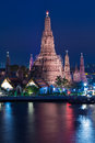 Arun temple blue sky waterfront, Bangkok Thailand Royalty Free Stock Photo