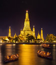 Arun temple landscape of river and in bangkok city in fesival night time Royalty Free Stock Images