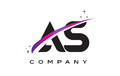 AS A S Black Letter Logo Design with Purple Magenta Swoosh