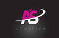 AS A S Creative Letters Design With White Pink Colors