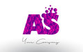 AS A S Dots Letter Logo with Purple Bubbles Texture.