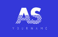 AS A S Dotted Letter Logo Design with Blue Background.