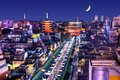 Asakusa skyline of the district in tokyo japan with famed temples Royalty Free Stock Images
