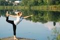 Asana on balance Nataraja asana Royalty Free Stock Photo