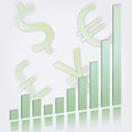 Ascending bar graph with currency symbols vector illustration of an showing growth and increasing performance or profits in pale Stock Photography