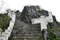Ascending stone staircase to Hang Mua pagoda, Ninh Binh, Vietnam Royalty Free Stock Photo