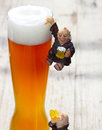 Ascension day monk depends on the beer glass Royalty Free Stock Image