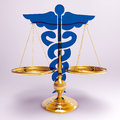 Asclepius justice scale conceptual idea of in medicine Royalty Free Stock Images