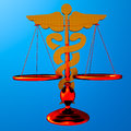 Asclepius justice scale conceptual idea of in medicine Stock Photos
