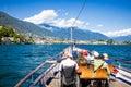 Ascona, Switzerland – JUNE 24, 2015: Passengers enjoy the scenery of the Lake Maggiore Royalty Free Stock Photo