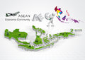 Asean economic community aec concept Stock Image