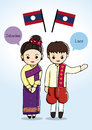 Asean laos traditional costume cartoon Royalty Free Stock Photos