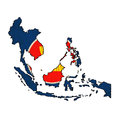 Asean map on asean economic community flag drawing grunge and retro series Royalty Free Stock Photography
