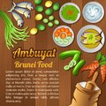 Asean National food ingredients elements set banner on wooden background,Brunei