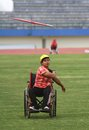 Asean paragames athletic indonesian disabled athlete doing training in order to preparations ahead the asian held in solo central Royalty Free Stock Images