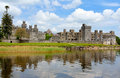 Ashford castle reflected in the water ashcroft lake connemara ireland Royalty Free Stock Images