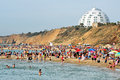 Ashkelon israel isr may visitors in shimshon beach on may it s southernmost city on the israeli mediterranean shoreline with km of Royalty Free Stock Images