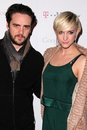 Ashlee Simpson, M. Brainwash, Piazza Vincent Royalty-vrije Stock Fotografie