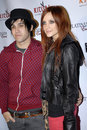 Ashlee Simpson and Pete Wentz on the red carpet. Stock Photography