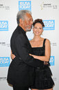 Ashley judd morgan freeman and at the usa today hollywood hero gala honoring montage hotel beverly hills ca Stock Photos