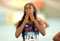 Ashley spencer of usa celebrating gold in relays event of the th world junior athletics championships at the olympic stadium on Royalty Free Stock Images