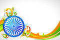 Ashok Wheel on Tricolor Background Stock Photos