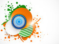 Ashoka Wheel, national tricolor stickers and splash on grey background. Royalty Free Stock Photo