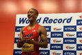 Ashton eaton of the united states set a world record in the decathlon at the iaaf world championships laughing after he points Stock Image