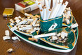 Ashtray with cigarette butts Stock Image