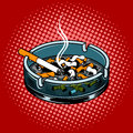 Ashtray with cigarette butts pop art style vector Royalty Free Stock Photo