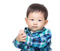 Asia baby boy clapping hand isolated on white Stock Photos