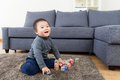 Asia baby boy play toy block Stock Image