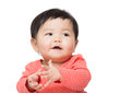 Asia baby girl clapping hand isolated on white Royalty Free Stock Images