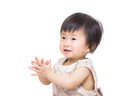 Asia baby girl clapping hand isolated on white Royalty Free Stock Image