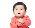 Asia baby girl clapping isolated on white Royalty Free Stock Images