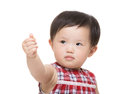 Asia baby girl thumb up Stock Photo
