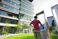 Asia boy play the touch screen Stock Photos