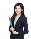 Asia businesswoman holding file pad isolated on white Stock Image