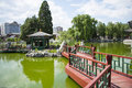 Asia China, Beijing, Grand View Garden,Lake, pavilion, bridge Royalty Free Stock Photo