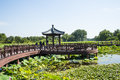 Asia China, Beijing, Old Summer Palace, lake landscape, lotus pond,wooden pavilion Royalty Free Stock Photo