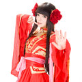 Asia chinese style girl in red traditional dress dancer Stock Photo