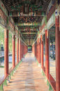 Asia chinese traditional corridor with china old classic pattern and design aisle with oriental quaint ancient style long in Royalty Free Stock Photos