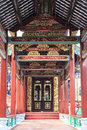 Asia chinese traditional corridor with china old classic pattern and design aisle with oriental quaint ancient style long in Stock Photos