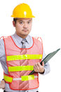 Asia construction worker and file pad Royalty Free Stock Photo