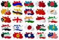 Asia countries to m flag blots white background Stock Image