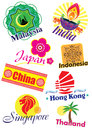 Asia country travel icon set different illustration style Stock Image