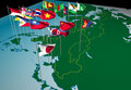 Asia flags on map (Northeast view) Royalty Free Stock Photography